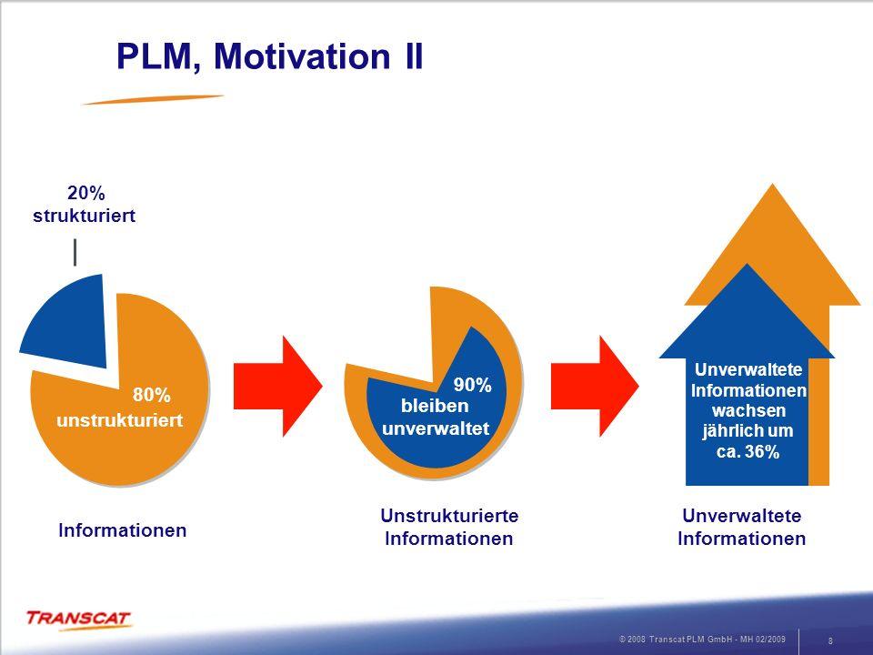 © 2008 Transcat PLM GmbH - MH 02/2009 9 PLM, Motivation III Compliance: Übereinstimmung mit und Erfüllung von rechtlichen und regulativen Vorgaben Es existieren weltweit schätzungsweise 16.000 Gesetze, Vorschriften und Regularien für den Umgang mit Dokumenten.