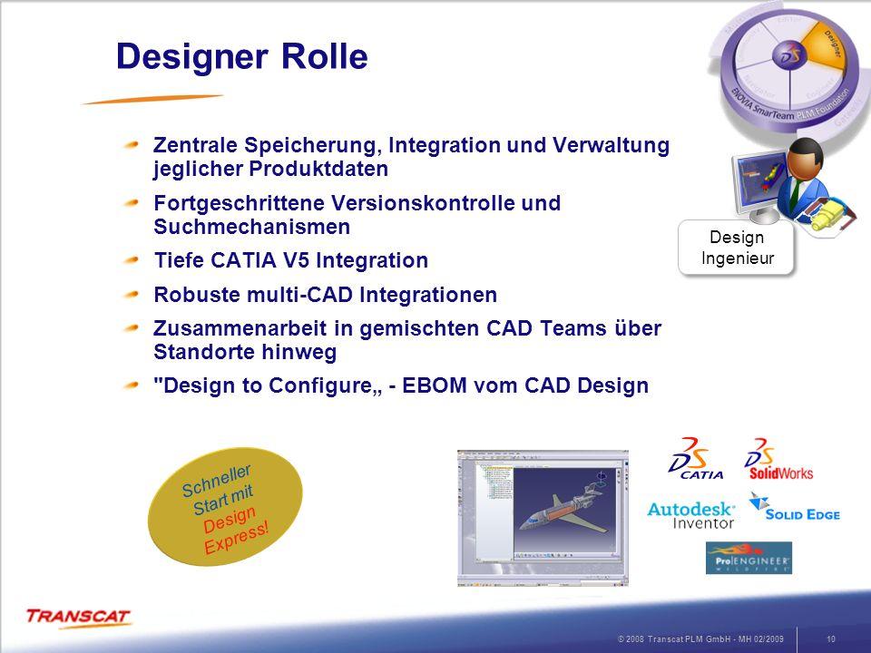 © 2008 Transcat PLM GmbH - MH 02/200910 Designer Rolle Zentrale Speicherung, Integration und Verwaltung jeglicher Produktdaten Fortgeschrittene Versio