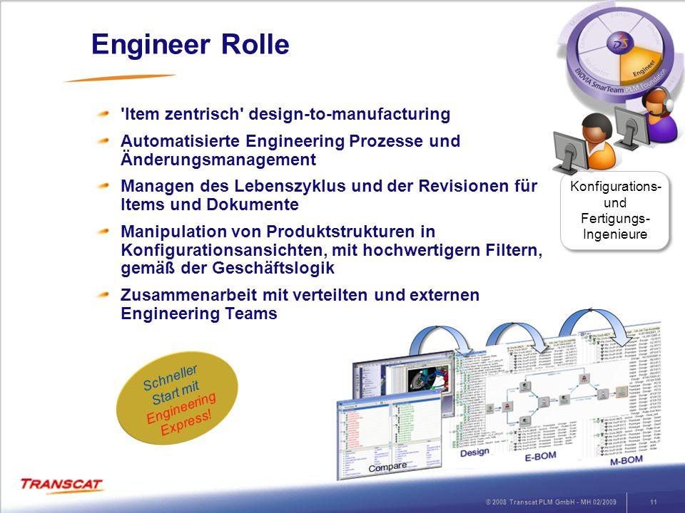 © 2008 Transcat PLM GmbH - MH 02/200911 Engineer Rolle 'Item zentrisch' design-to-manufacturing Automatisierte Engineering Prozesse und Änderungsmanag