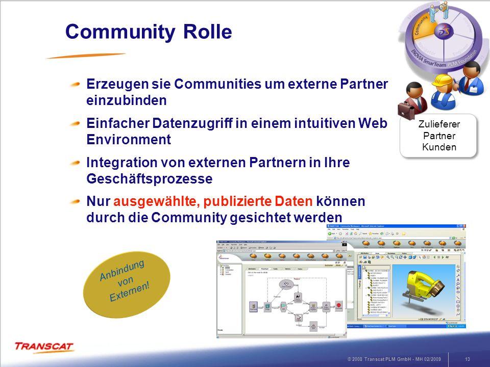 © 2008 Transcat PLM GmbH - MH 02/200913 Community Rolle Erzeugen sie Communities um externe Partner einzubinden Einfacher Datenzugriff in einem intuit