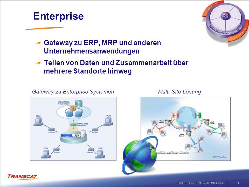 © 2008 Transcat PLM GmbH - MH 02/200914 Enterprise Gateway zu ERP, MRP und anderen Unternehmensanwendungen Teilen von Daten und Zusammenarbeit über me