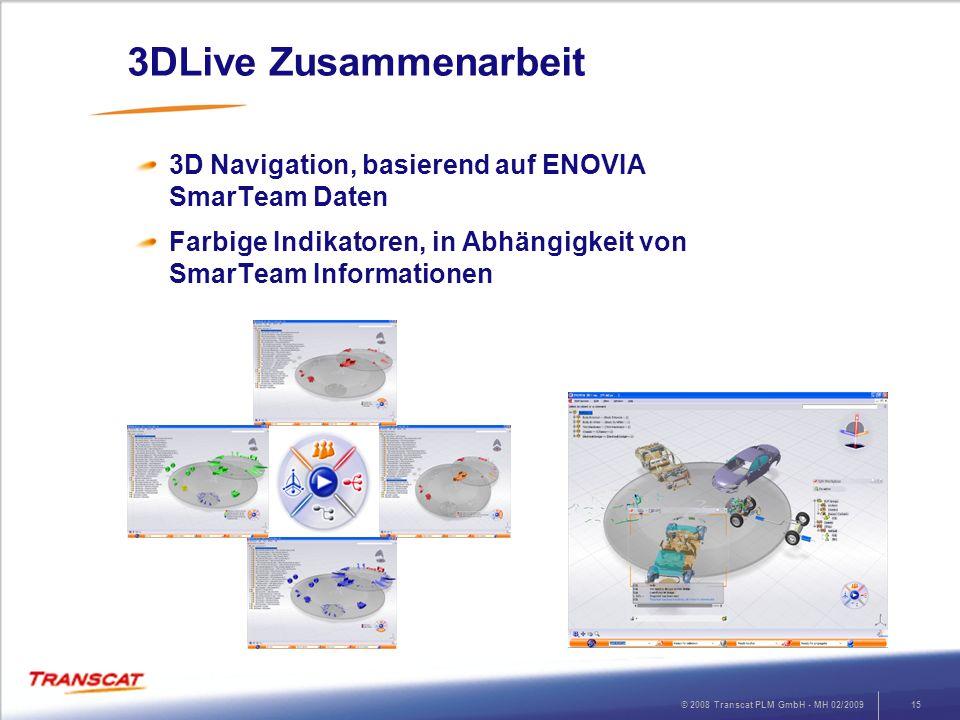 © 2008 Transcat PLM GmbH - MH 02/200915 3DLive Zusammenarbeit 3D Navigation, basierend auf ENOVIA SmarTeam Daten Farbige Indikatoren, in Abhängigkeit