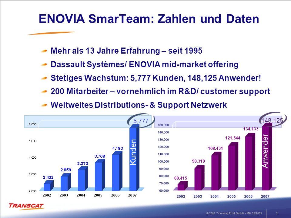 © 2008 Transcat PLM GmbH - MH 02/20092 ENOVIA SmarTeam: Zahlen und Daten Mehr als 13 Jahre Erfahrung – seit 1995 Dassault Systèmes/ ENOVIA mid-market