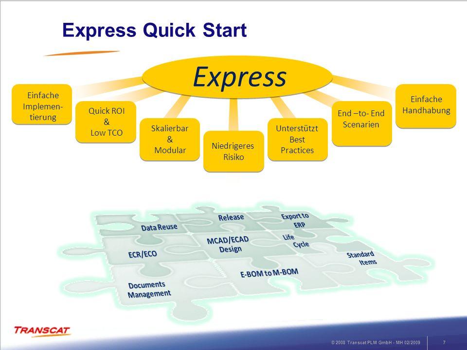 © 2008 Transcat PLM GmbH - MH 02/20097 Express Quick Start Einfache Implemen- tierung Einfache Handhabung Niedrigeres Risiko Unterstützt Best Practice