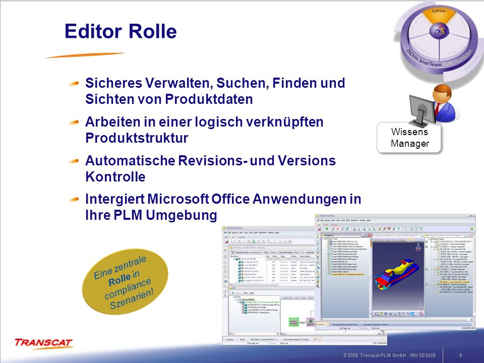 © 2008 Transcat PLM GmbH - MH 02/20099 Editor Rolle Sicheres Verwalten, Suchen, Finden und Sichten von Produktdaten Arbeiten in einer logisch verknüpf