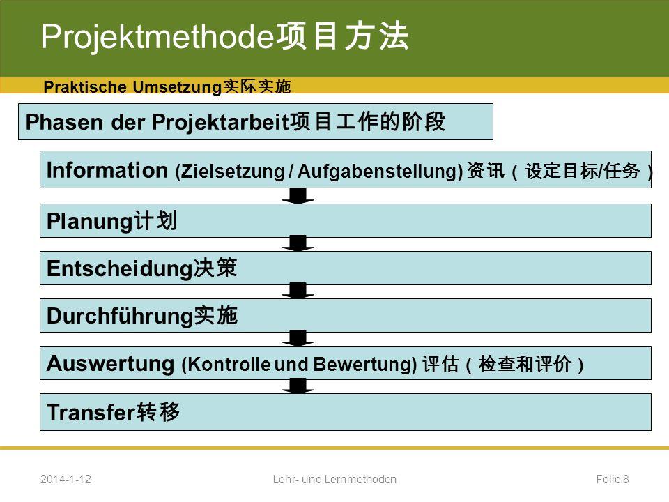 Beispiel Projektmethode Phasen der Realisierung des Projektes (Fortsetzung) Projektphase 4 (Durchführung) 4 Herstellung der mechanischen Teil Verdrahtung und Inbetriebnahme des Systems Funktions- und Fehleranalyse Evaluierung des Projektes Erstellung einer Dokumentation zum Projekt 2014-1-12Folie 29Lehr- und Lernmethoden