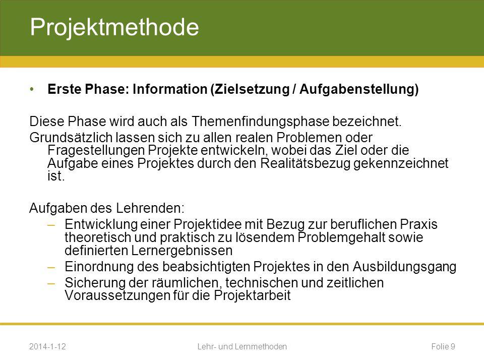 Beispiel Projektmethode (Lernsituation) Beruf: Industriemechaniker Lernfeld 14: 14 Planen und Realisieren technischer Systeme Projekt : Verteilstation 2014-1-12Folie 20Lehr- und Lernmethoden