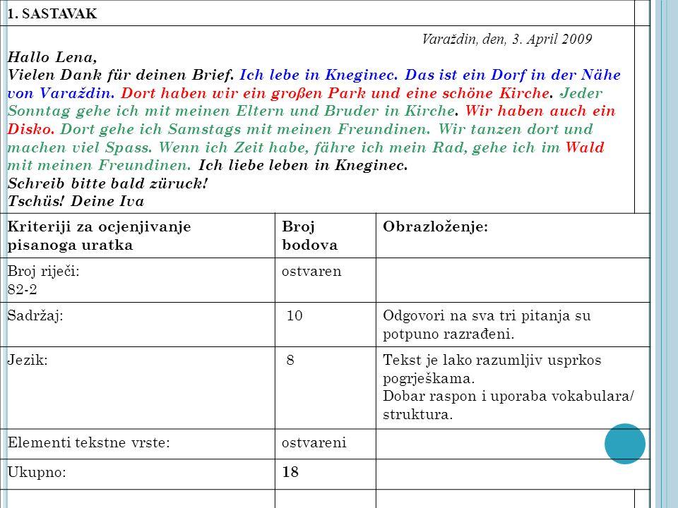 1. SASTAVAK Varaždin, den, 3. April 2009 Hallo Lena, Vielen Dank für deinen Brief. Ich lebe in Kneginec. Das ist ein Dorf in der Nähe von Varaždin. Do