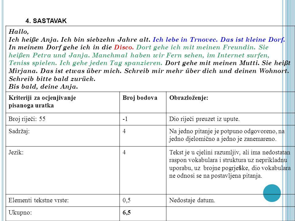 4. SASTAVAK Hallo, Ich heiße Anja. Ich bin siebzehn Jahre alt. Ich lebe in Trnovec. Das ist kleine Dorf. In meinem Dorf gehe ich in die Disco. Dort ge