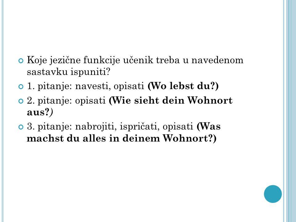 Koje jezične funkcije učenik treba u navedenom sastavku ispuniti? 1. pitanje: navesti, opisati (Wo lebst du?) 2. pitanje: opisati (Wie sieht dein Wohn