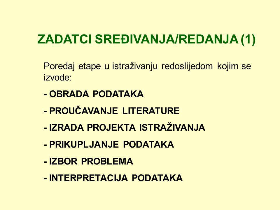 ZADATCI SREĐIVANJA/REDANJA (1) Poredaj etape u istraživanju redoslijedom kojim se izvode: - OBRADA PODATAKA - PROUČAVANJE LITERATURE - IZRADA PROJEKTA