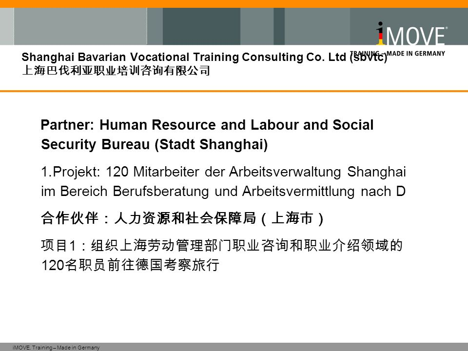 iMOVE. Training – Made in Germany Shanghai Bavarian Vocational Training Consulting Co. Ltd (sbvtc) Partner: Human Resource and Labour and Social Secur
