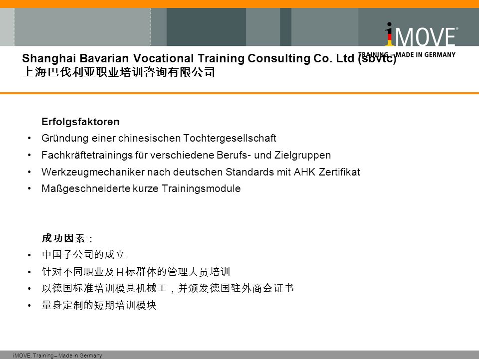 iMOVE. Training – Made in Germany Shanghai Bavarian Vocational Training Consulting Co. Ltd (sbvtc) Erfolgsfaktoren Gründung einer chinesischen Tochter