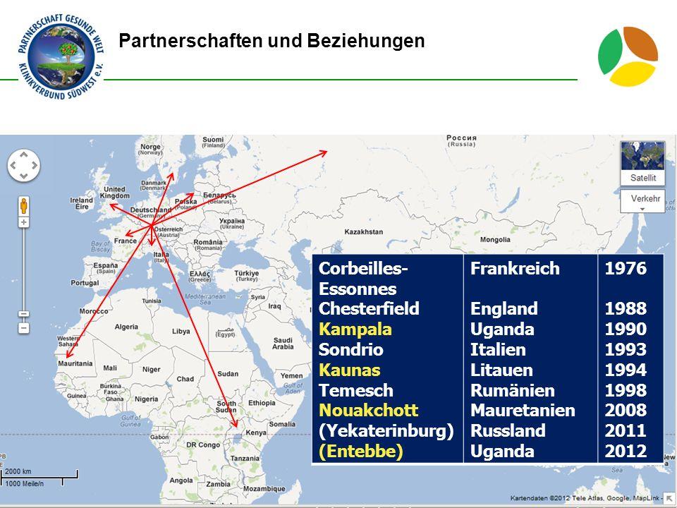Partnerschaften und Beziehungen 2 Corbeilles- Essonnes Chesterfield Kampala Sondrio Kaunas Temesch Nouakchott (Yekaterinburg) (Entebbe) Frankreich Eng