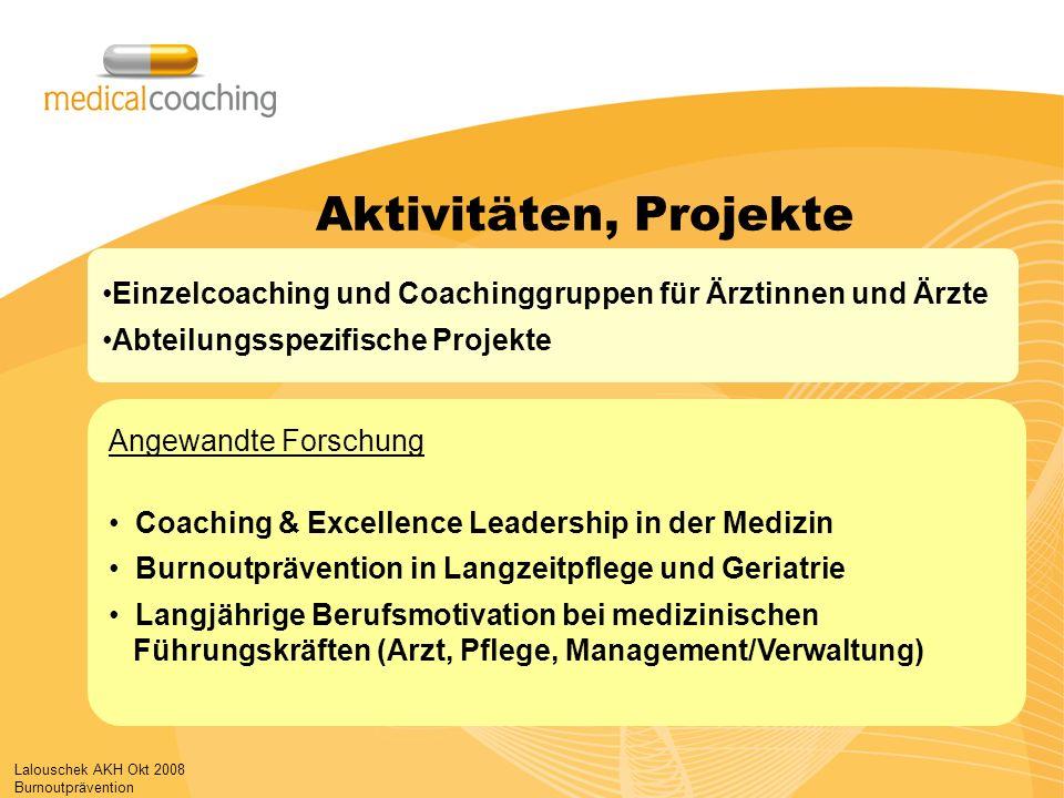 Lalouschek AKH Okt 2008 Burnoutprävention Angewandte Forschung Coaching & Excellence Leadership in der Medizin Burnoutprävention in Langzeitpflege und