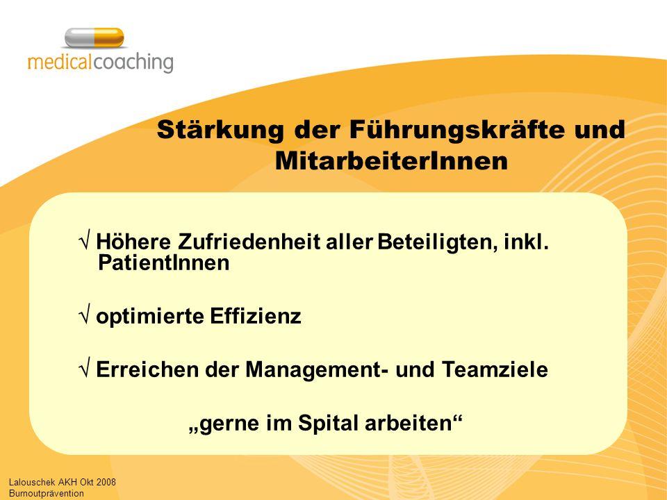 Lalouschek AKH Okt 2008 Burnoutprävention Stärkung der Führungskräfte und MitarbeiterInnen Höhere Zufriedenheit aller Beteiligten, inkl. PatientInnen