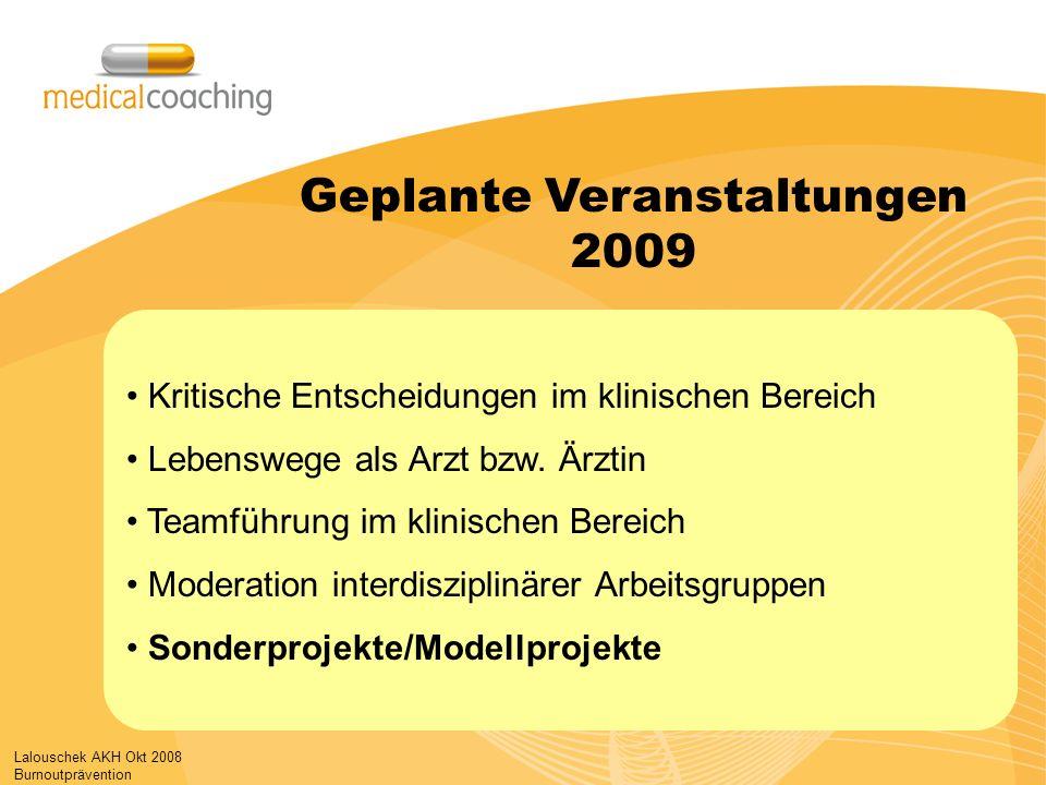 Lalouschek AKH Okt 2008 Burnoutprävention Kritische Entscheidungen im klinischen Bereich Lebenswege als Arzt bzw. Ärztin Teamführung im klinischen Ber