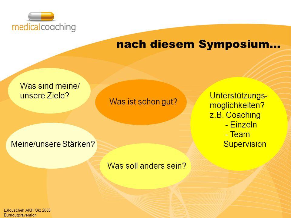 Lalouschek AKH Okt 2008 Burnoutprävention nach diesem Symposium… Was sind meine/ unsere Ziele? Was ist schon gut? Unterstützungs- möglichkeiten? z.B.