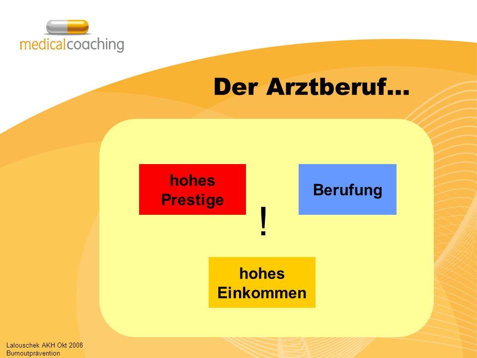 Lalouschek AKH Okt 2008 Burnoutprävention Der Arztberuf… hohes Einkommen Berufung ! hohes Prestige