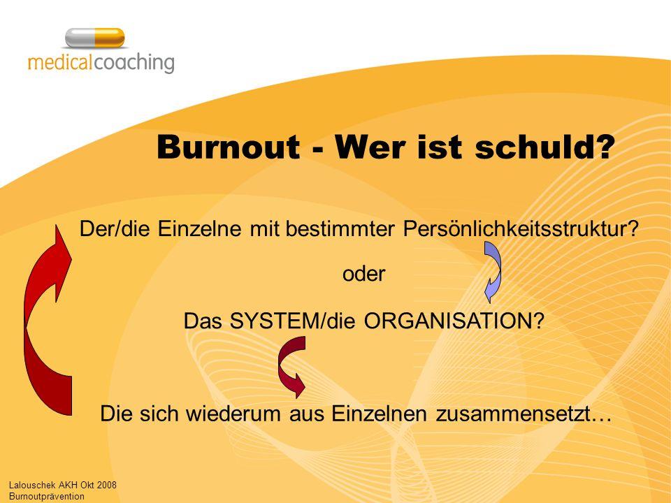 Lalouschek AKH Okt 2008 Burnoutprävention Burnout - Wer ist schuld? Der/die Einzelne mit bestimmter Persönlichkeitsstruktur? oder Das SYSTEM/die ORGAN