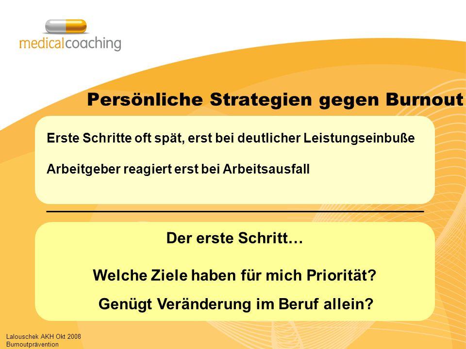 Lalouschek AKH Okt 2008 Burnoutprävention Persönliche Strategien gegen Burnout Der erste Schritt… Welche Ziele haben für mich Priorität.