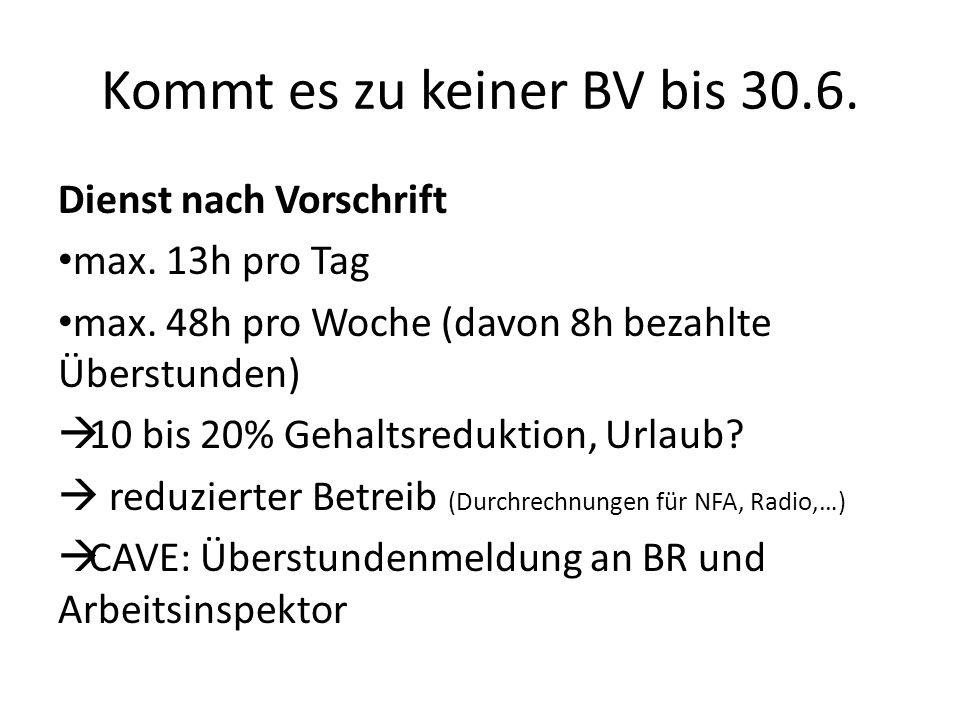 Kommt es zu keiner BV bis 30.6. Dienst nach Vorschrift max. 13h pro Tag max. 48h pro Woche (davon 8h bezahlte Überstunden) 10 bis 20% Gehaltsreduktion