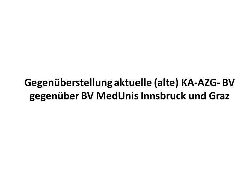 Gegenüberstellung aktuelle (alte) KA-AZG- BV gegenüber BV MedUnis Innsbruck und Graz