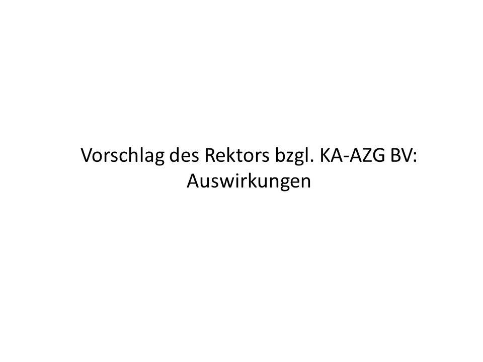 Vorschlag des Rektors bzgl. KA-AZG BV: Auswirkungen