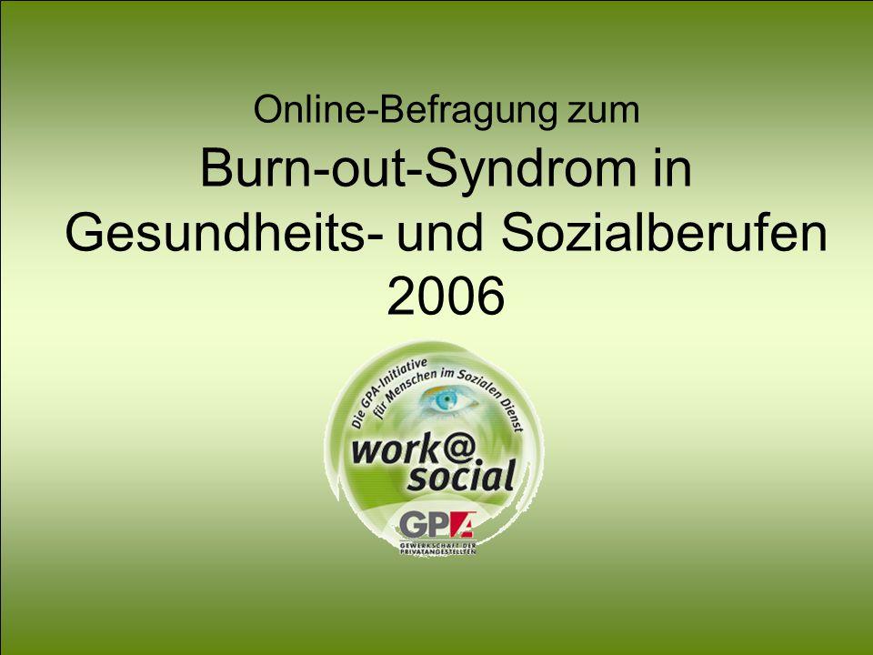 Burn-out im Gesundheits- und Sozialbereich Online-Befragung zum Burn-out-Syndrom Online-Befragung zum Burn-out-Syndrom in Gesundheits- und Sozialberuf