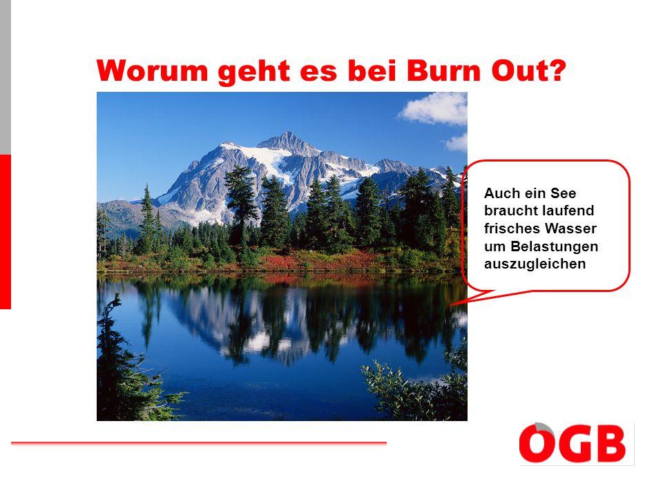 Worum geht es bei Burn Out? Auch ein See braucht laufend frisches Wasser um Belastungen auszugleichen