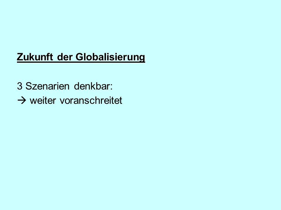 Zukunft der Globalisierung 3 Szenarien denkbar: weiter voranschreitet