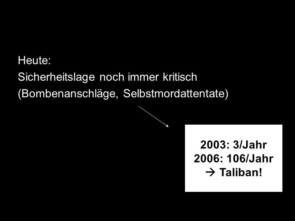 Heute: Sicherheitslage noch immer kritisch (Bombenanschläge, Selbstmordattentate) 2003: 3/Jahr 2006: 106/Jahr Taliban!