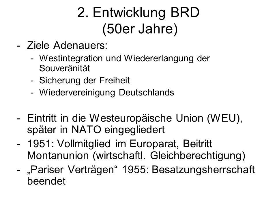 2. Entwicklung BRD (50er Jahre) -Ziele Adenauers: -Westintegration und Wiedererlangung der Souveränität -Sicherung der Freiheit -Wiedervereinigung Deu
