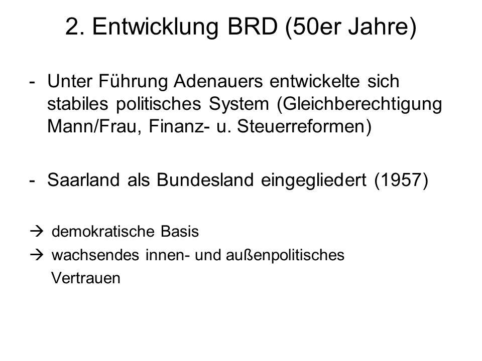 2. Entwicklung BRD (50er Jahre) -Unter Führung Adenauers entwickelte sich stabiles politisches System (Gleichberechtigung Mann/Frau, Finanz- u. Steuer