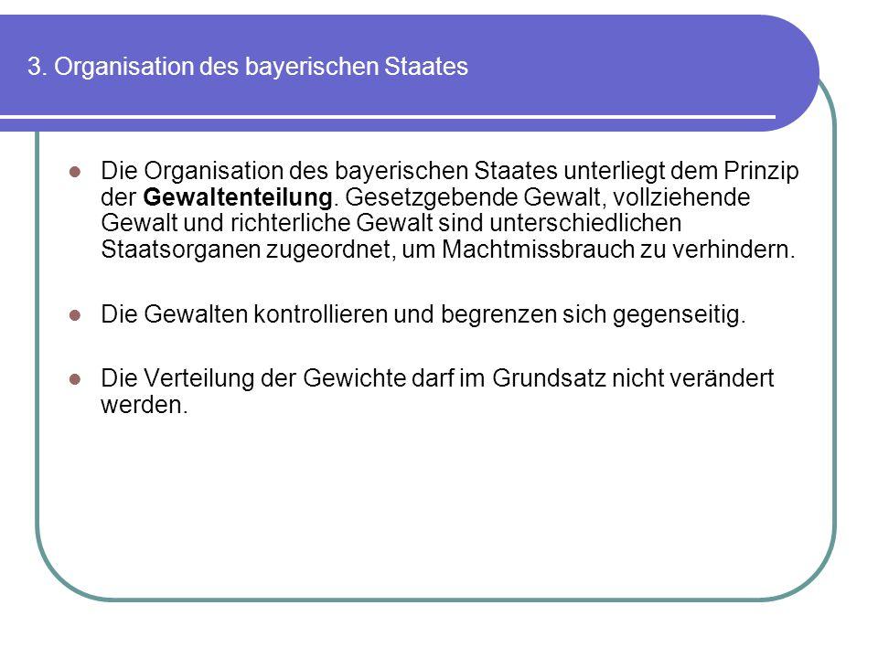 3. Organisation des bayerischen Staates Die Organisation des bayerischen Staates unterliegt dem Prinzip der Gewaltenteilung. Gesetzgebende Gewalt, vol