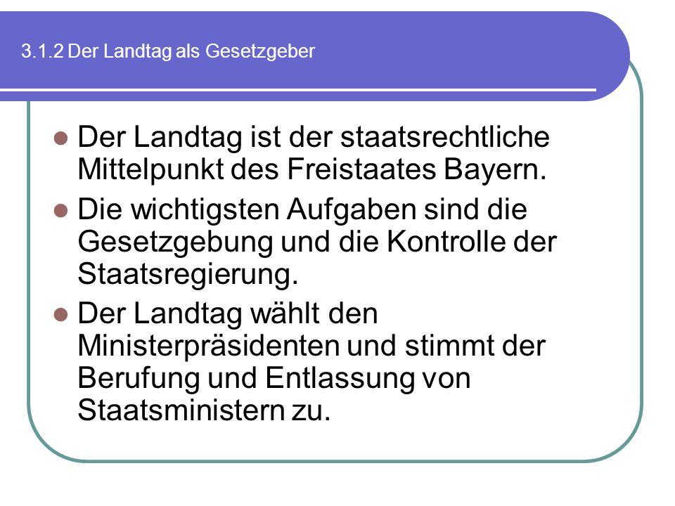 3.1.2 Der Landtag als Gesetzgeber Der Landtag ist der staatsrechtliche Mittelpunkt des Freistaates Bayern. Die wichtigsten Aufgaben sind die Gesetzgeb