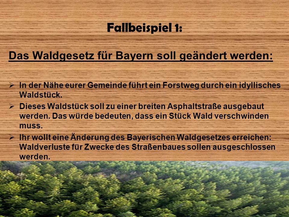 Fallbeispiel 1: Das Waldgesetz für Bayern soll geändert werden: In der Nähe eurer Gemeinde führt ein Forstweg durch ein idyllisches Waldstück. Dieses
