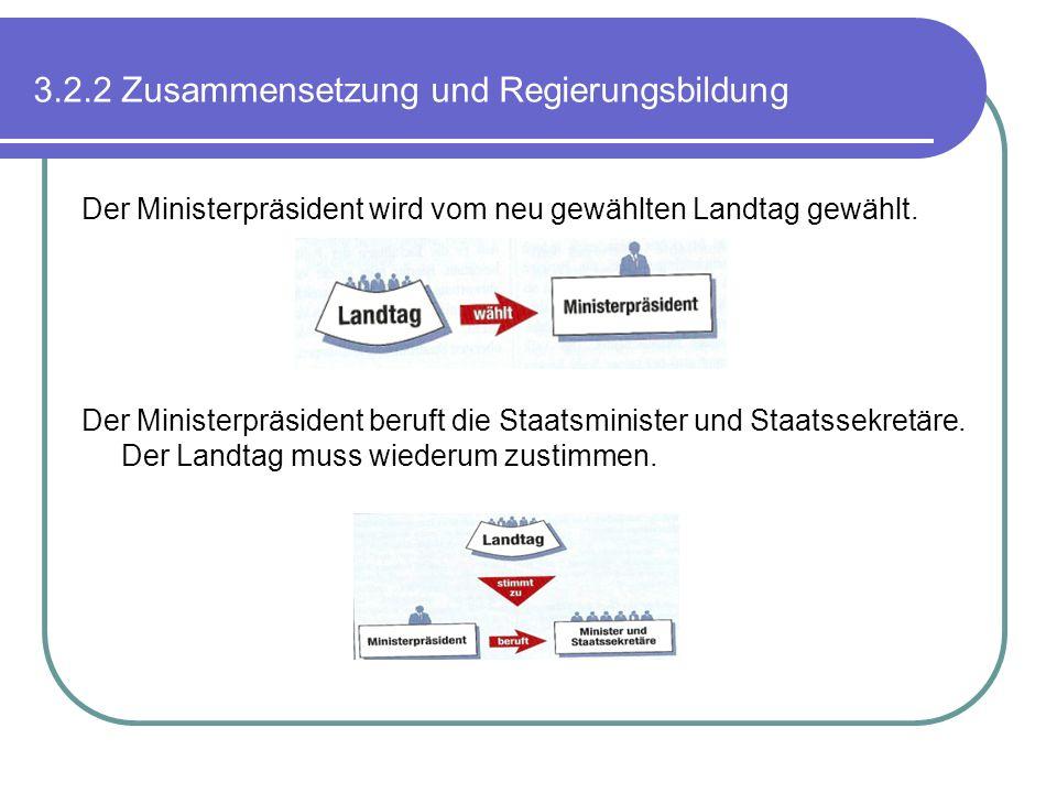 3.2.2 Zusammensetzung und Regierungsbildung Der Ministerpräsident wird vom neu gewählten Landtag gewählt. Der Ministerpräsident beruft die Staatsminis