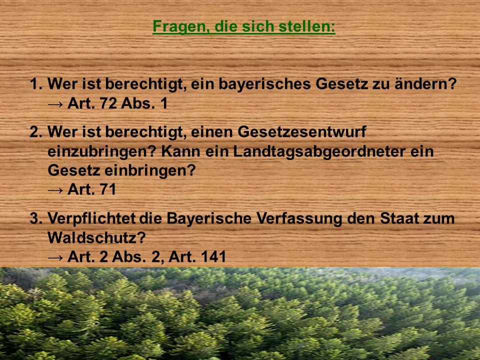 Fragen, die sich stellen: 1.Wer ist berechtigt, ein bayerisches Gesetz zu ändern? Art. 72 Abs. 1 2.Wer ist berechtigt, einen Gesetzesentwurf einzubrin