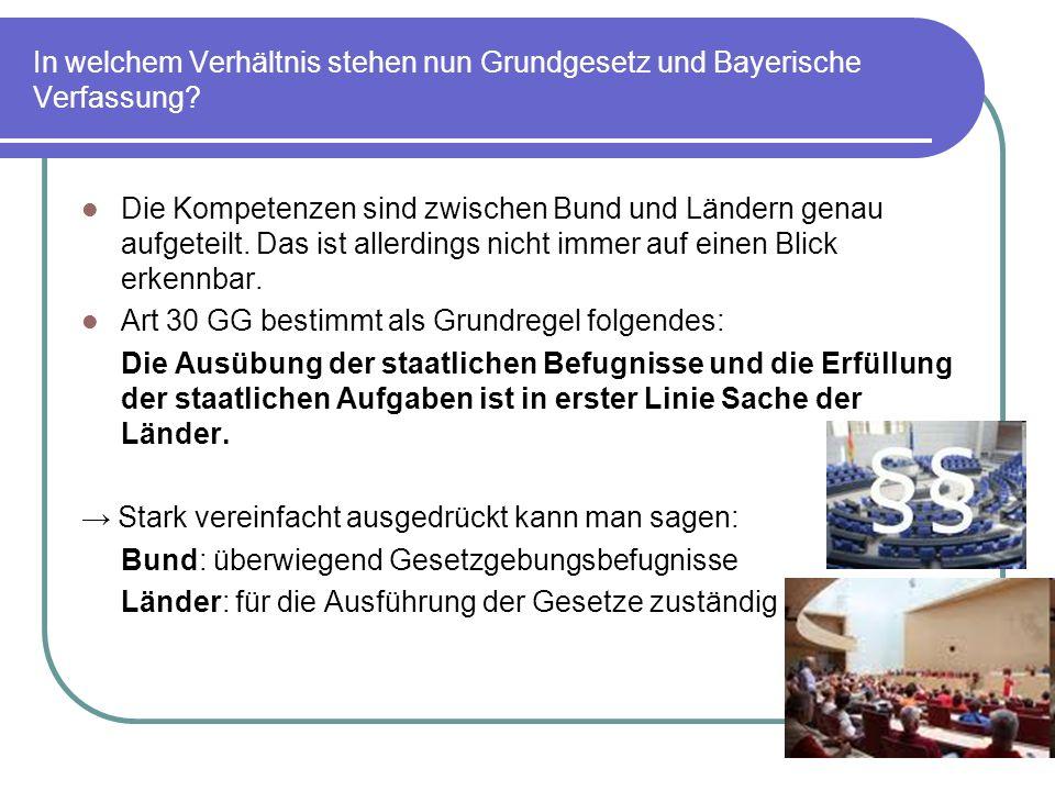 In welchem Verhältnis stehen nun Grundgesetz und Bayerische Verfassung? Die Kompetenzen sind zwischen Bund und Ländern genau aufgeteilt. Das ist aller