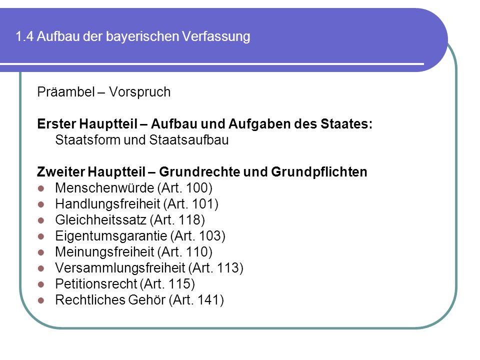 1.4 Aufbau der bayerischen Verfassung Präambel – Vorspruch Erster Hauptteil – Aufbau und Aufgaben des Staates: Staatsform und Staatsaufbau Zweiter Hau