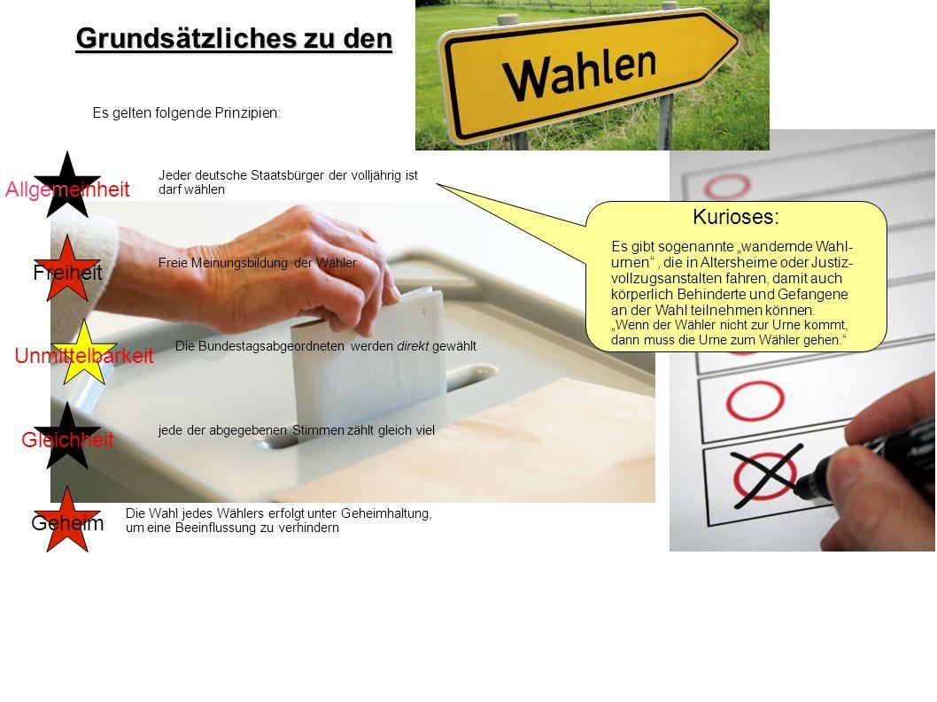Grundsätzliches zu den Es gelten folgende Prinzipien: Allgemeinheit Freiheit Unmittelbarkeit Gleichheit Geheim Jeder deutsche Staatsbürger der volljäh
