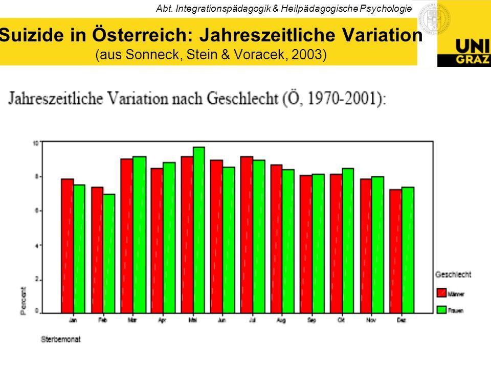 Abt. Integrationspädagogik & Heilpädagogische Psychologie 11 Suizide in Österreich: Jahreszeitliche Variation (aus Sonneck, Stein & Voracek, 2003)