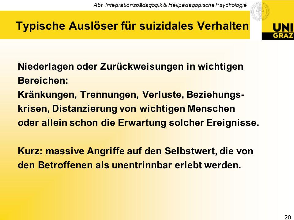Abt. Integrationspädagogik & Heilpädagogische Psychologie 20 Typische Auslöser für suizidales Verhalten Niederlagen oder Zurückweisungen in wichtigen