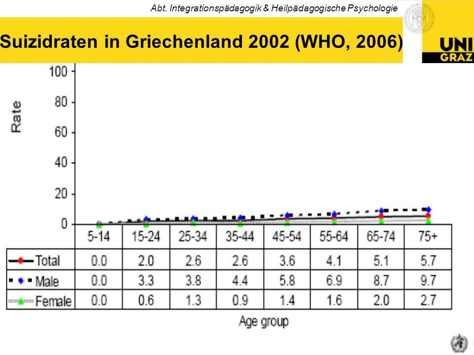 Abt. Integrationspädagogik & Heilpädagogische Psychologie 5 Suizidraten in Griechenland 2002 (WHO, 2006)