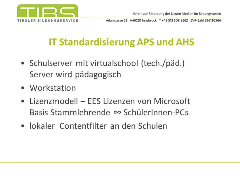 IT Standardisierung APS und AHS Schulserver mit virtualschool (tech./päd.) Server wird pädagogisch Workstation Lizenzmodell – EES Lizenzen von Microso