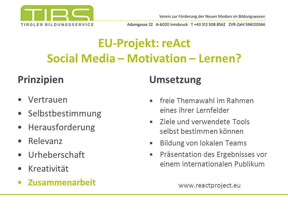 EU-Projekt: reAct Social Media – Motivation – Lernen? Prinzipien Vertrauen Selbstbestimmung Herausforderung Relevanz Urheberschaft Kreativität Zusamme