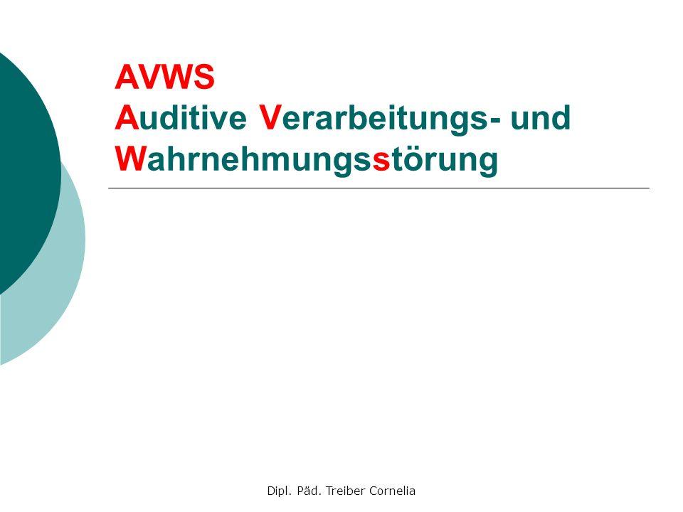 Dipl. Päd. Treiber Cornelia AVWS Auditive Verarbeitungs- und Wahrnehmungsstörung