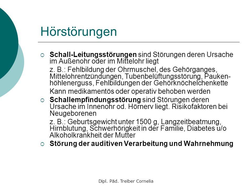 Dipl. Päd. Treiber Cornelia Hörstörungen Schall-Leitungsstörungen sind Störungen deren Ursache im Außenohr oder im Mittelohr liegt z. B.: Fehlbildung