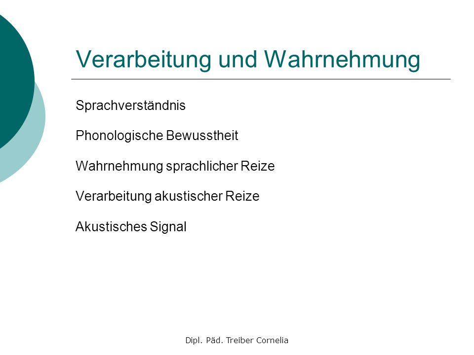 Dipl. Päd. Treiber Cornelia Verarbeitung und Wahrnehmung Sprachverständnis Phonologische Bewusstheit Wahrnehmung sprachlicher Reize Verarbeitung akust